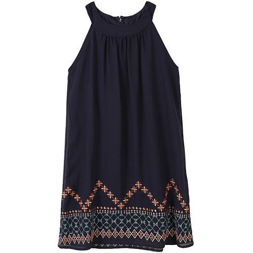 Girls 7-16 Speechless Embroidered Border Halter Dress