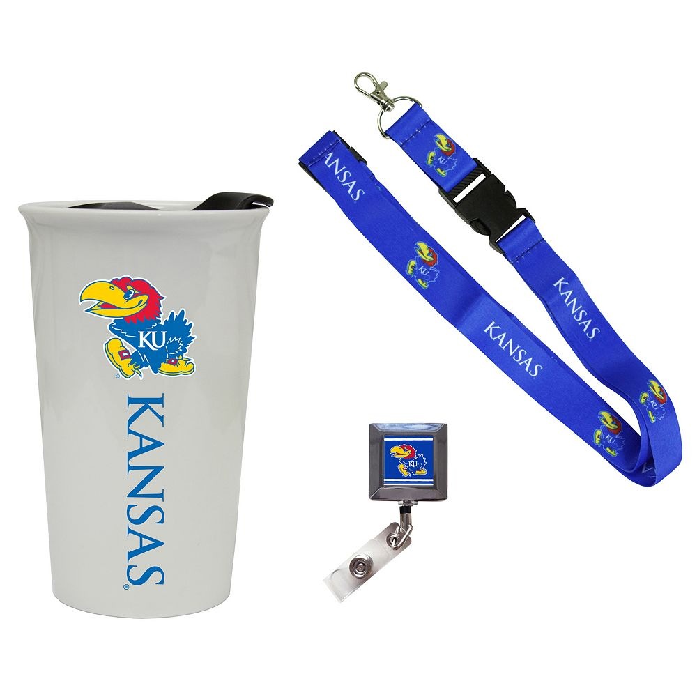 Kansas Jayhawks Badge Holder, Lanyard & Tumbler Job Pack