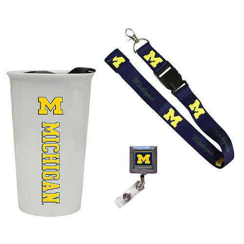 Michigan Wolverines Badge Holder, Lanyard & Tumbler Job Pack