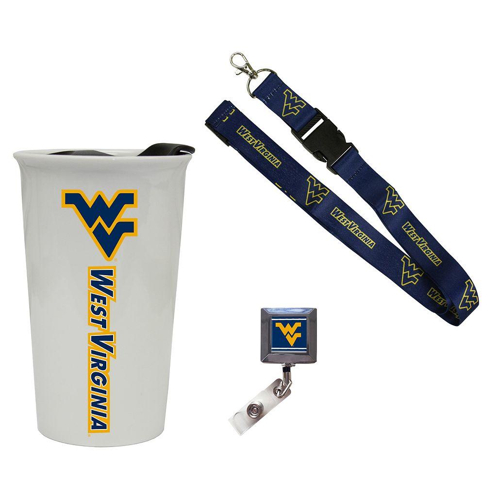 West Virginia Mountaineers Badge Holder, Lanyard & Tumbler Job Pack