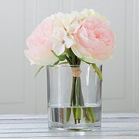 Pure Garden Artificial Hydrangea & Rose Floral Arrangement