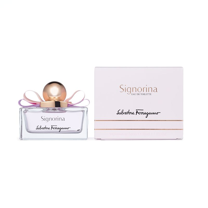 Salvatore Ferragamo Signorina Women's Perfume, Size: 1.0 Oz Salvatore Ferragamo Signorina perfume is ideal for the romantic young woman.FRAGRANCE NOTES Litchi, grapefruit, rice steam aerial notes, fresh rose, milk mousse and cashmeran 1.0 oz. Eau de toilette Color: Multicolor. Gender: female. Age Group: adult.