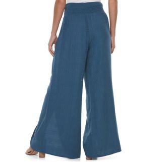 Juniors' Mason & Belle Split Front Jacquard Pants