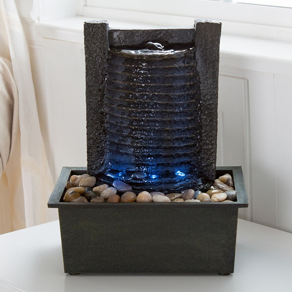 Pure Garden LED Waterfall Fountain Table Decor