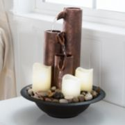 Pure Garden Tiered Fountain LED Candle Table Decor
