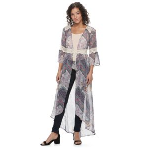 Juniors' Mason & Belle Sheer Floral Long Cardigan
