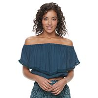 Juniors' Mason & Belle Off The Shoulder Crop Top