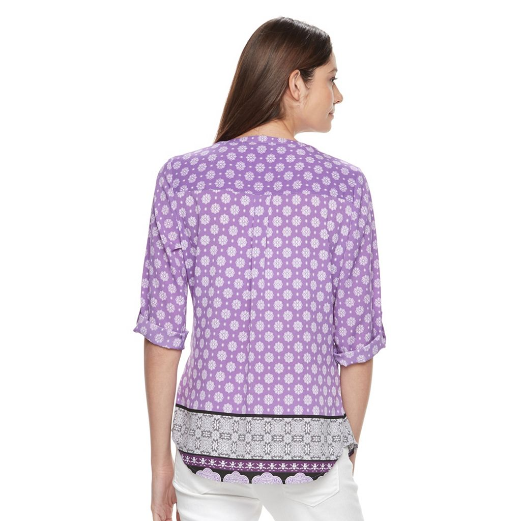 Women's Croft & Barrow® Smocked Crepe Top