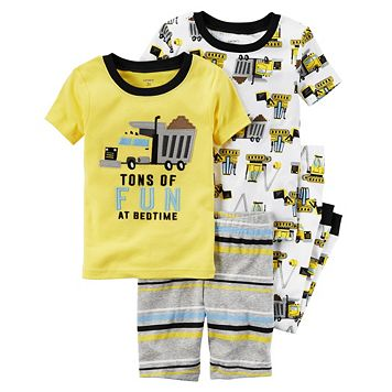Boys 10-12 Carter's 4-Piece Construction Pajama Set