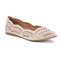 Candie's® Women's Laser-Cut Pointed-Toe Flats