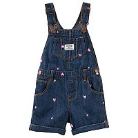 Baby Girl OshKosh B'gosh® Embroidered Heart Denim Shortalls