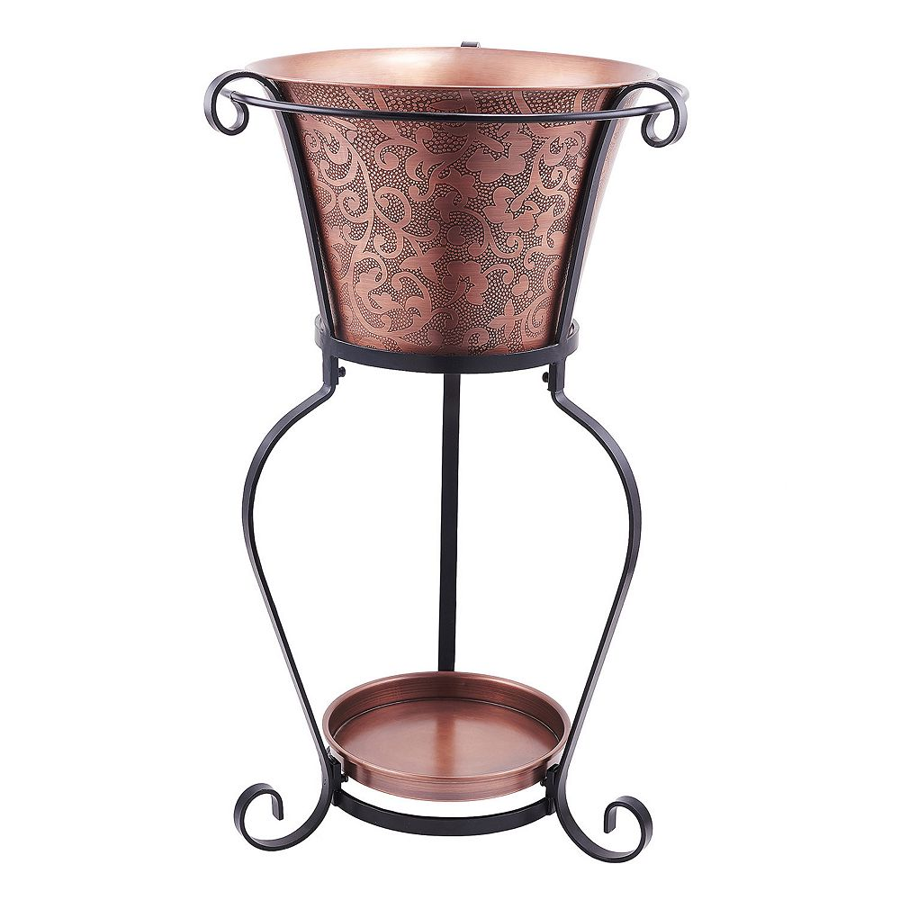 Old Dutch Solid Copper Etched Beverage Tub with Stand