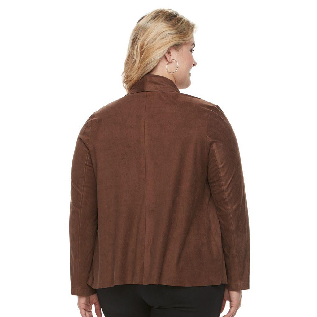 Plus Size Dana Buchman Open Front Faux-Suede Jacket