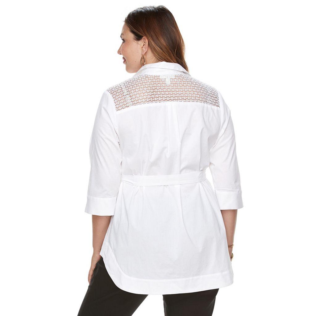 Plus Size Dana Buchman Tie Waist Shirt