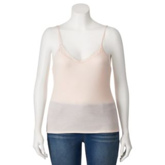 Juniors' Plus Size Mudd® Lace V-Neck Camisole