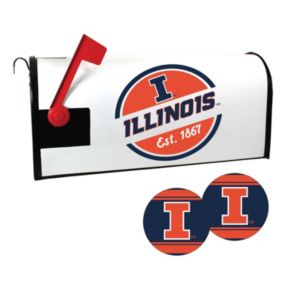 Illinois Fighting Illini Magnetic Mailbox Cover & Decal Set