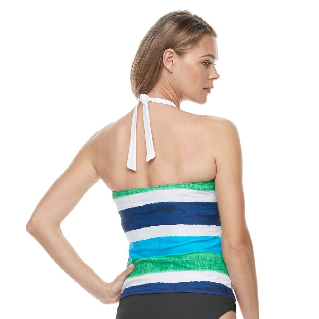 Women's Chaps Striped Halterkini Top