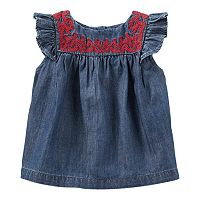 Baby Girl OshKosh B'gosh® Embroidered Chambray Tank Top