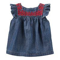 Baby Girl OshKosh B'gosh® Embroidered Chambray Tank Top
