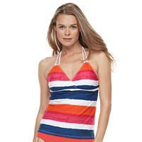Women's Chaps Striped Surplice Halterkini Top