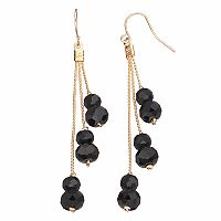 Apt. 9® Black Bead Tiered Drop Earrings