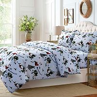 North Pole 3-piece Twill Flannel Printed Duvet Cover Set