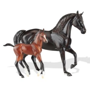 Breyer Classics Raven Black Morgan Mare & Red Bay Foal Model Horse Set
