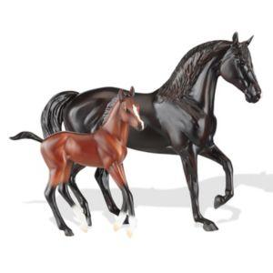 Breyer Classics Raven Black Morgan Mare & Red Bay Foal Model Horse Set