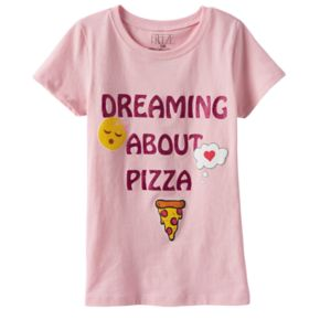 "Girls 4-6x Emoji ""Dreaming About Pizza"" Graphic Tee"