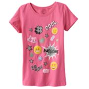 Girls 4-6x Emoji Glitter Graphic Tee