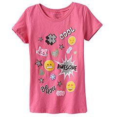 Girls 4-6x Emoji Glitter Graphic Tee