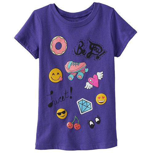 Girls 4-6x Emoji Patch Graphic Tee