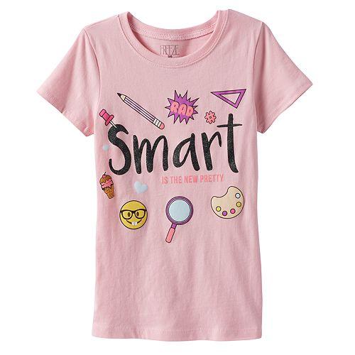 "Girls 4-6x Emoji ""Smart is the New Pretty"" Graphic Tee"