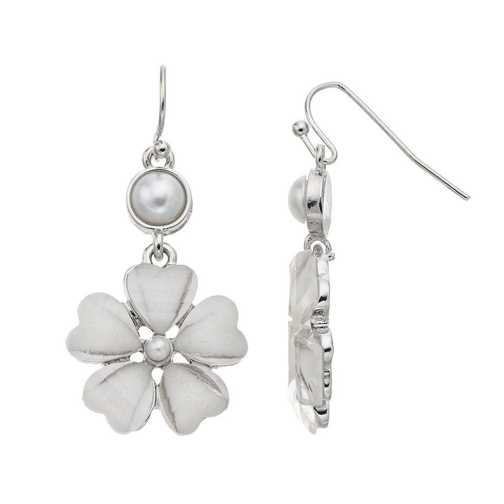 Glittery Flower Drop Earrings