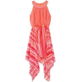 Girls 7-16 Speechless Polka-Dot & Striped Mixed Print Halter Top Sharkbite Hem Dress