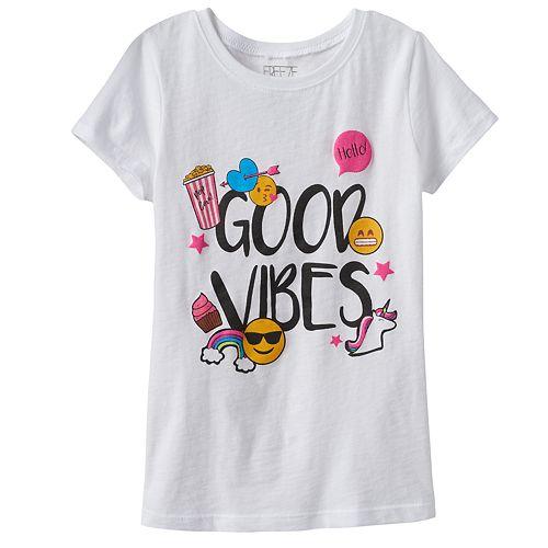 """Girls 4-6x Emoji """"Good Vibes"""" Graphic Tee"""
