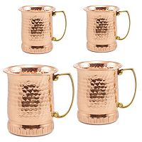 Old Dutch 4 pc Hammered Copper Moscow Mule Mug Set