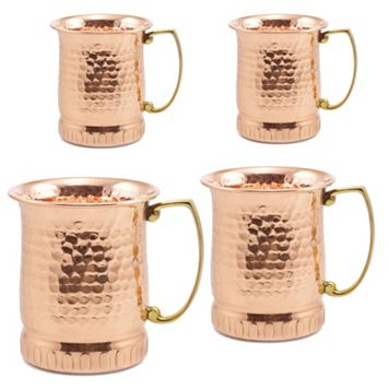 Old Dutch 4-pc. Hammered Copper Moscow Mule Mug Set