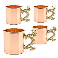 Old Dutch 4 pc Solid Copper Dragon Handle Mug Set