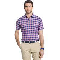 Men's IZOD Classic-Fit Buffalo-Check Chambray Button-Down Shirt