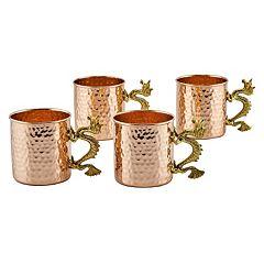Old Dutch 4 pc Hammered Copper Dragon Handle Mug Set