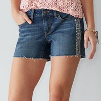 Petite SONOMA Goods for Life™ Embroidered Cutoff Jean Shorts