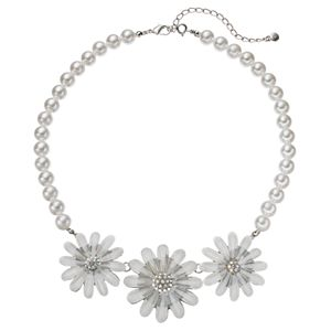 Croft & Barrow® Simulated Pearl Flower Statement Necklace