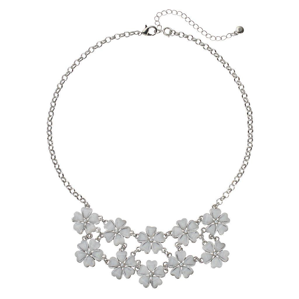Glittery Flower Statement Necklace