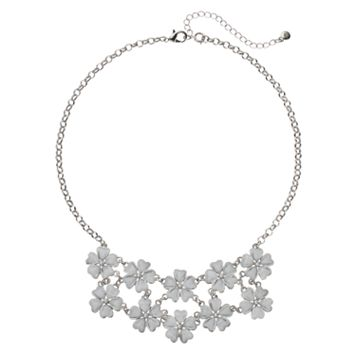 Glittery Flower Statement Necklace