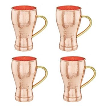 Old Dutch 4-pc. Hammered Copper Soda Fountain-Style Moscow Mule Mug Set