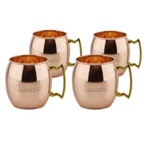 """Old Dutch 4-pc. Solid Copper """"Cheers!"""" Moscow Mule Mug Set"""