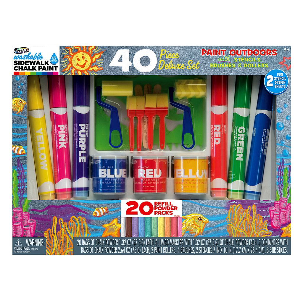 RoseArt Washable Sidewalk Chalk Paint 40-pc. Deluxe Set