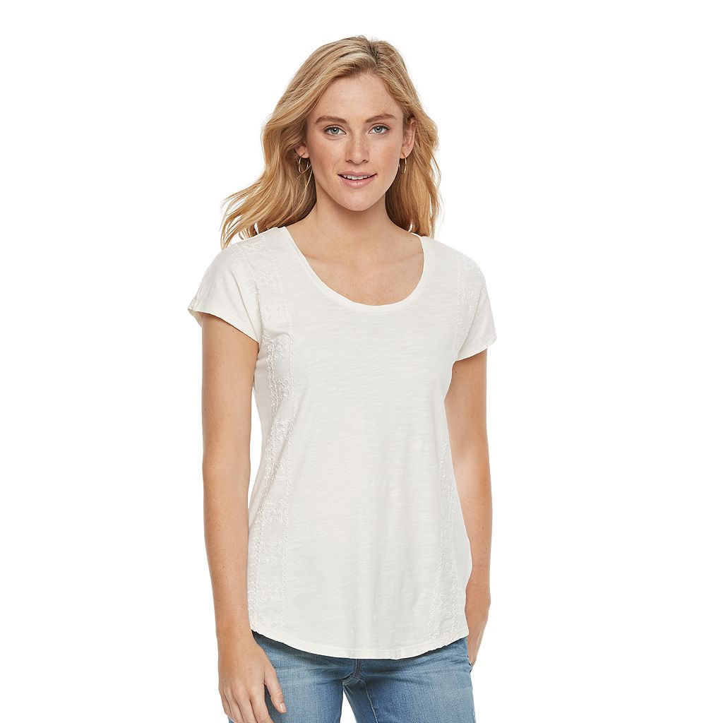 Women's SONOMA Goods for Life™ Embroidered Scoopneck Tee