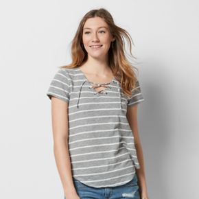Women's SONOMA Goods for Life? Striped Lace-Up Tee